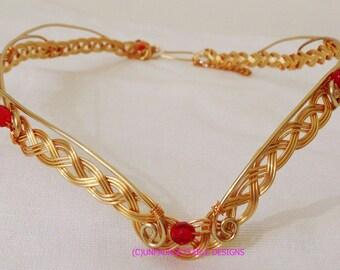 Gold Celtic Elven Circlet Crown with Garnet Crystal adjustable wedding handfasting larp ren