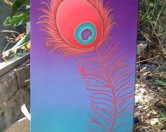 Peacock Feather, Peacock Decor, Peacock Lover, Art Nouveau,Colorful, Bohemian, Purple, Pink, Green, Orange