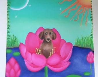 Dachshund in Flower Print,Dachshund Gift, Weiner dog, Christmas Gift, Woodland, Nursery Decor, Lotus, Water Lily, Sun and Moon, Giclee
