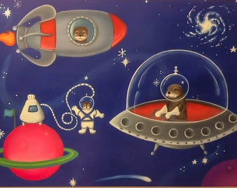 Otters in Space, Nursery Decor, Woodland Animals, Woodland Nursery, Space Art, Outer Space, Baby Shower, Retro Poster