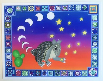 Armadillo Celestial Art Print, Colorful Wall Art, Woodland Nursery, Baby Girl Nursery, Southwest Decor, Moon Phase Wall Art, Talavera