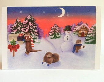 Otter Christmas Cards, Holiday Cards, Woodland Animals, Snowman, Cute Animals, Snowball, River Otter, Christmas Present