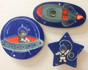 Otter Space Magnets, Stocking Stuffer, Christmas Gift, Woodland Animals, Woodland Nursery, Gift, Baby Shower, Shabby, Baby, Set of 3 Magnets
