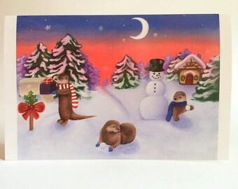 Otter Christmas/Holiday Card, Woodland Animals, Individual