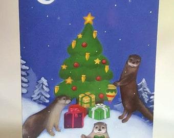 Otter Christmas cards, Woodland Animals, Christmas Tree, Snow, Wildlife, Pack of 10