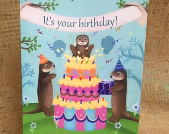 Otter Birthday Card, River Otter, Sea Otter, Happy Birthday, Woodland Birthday, Cute Animal Party