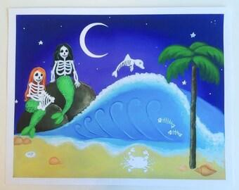 Mermaid Decor, Skeleton Print, Day of the Dead, Tropical, Beachy, Skull, Calavera, Nursery, 11x14, Giclee