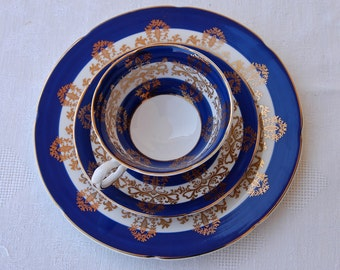 Royal Grafton Fine Bone China, set of two hand painted Tea Cup, Saucer and dessert plate