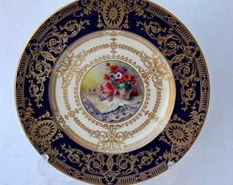 Rare antique Royal Worcester Cabinet Plate Artist Signed