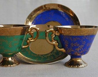 Arnart Imports, New York, made in Japan, set of 2 demitasse and saucer, pattern number 55/1275