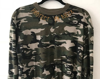 "Hand Embroidered ""Protect Ya Neck"" Army Long Sleeve"