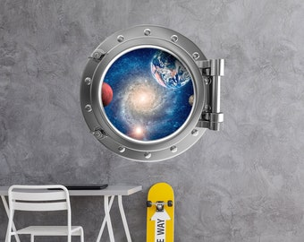 Full Colour Wall Decal Polar Bear v2 Silver Porthole Wall Sticker Ocean Sea Life Bathroom Kids