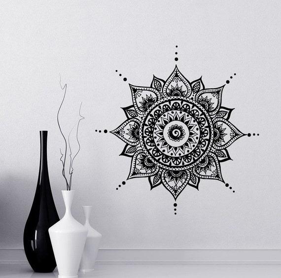 Mandala decals mehndi vinyl sticker bedroom wall decal lotus etsy image 0 mightylinksfo