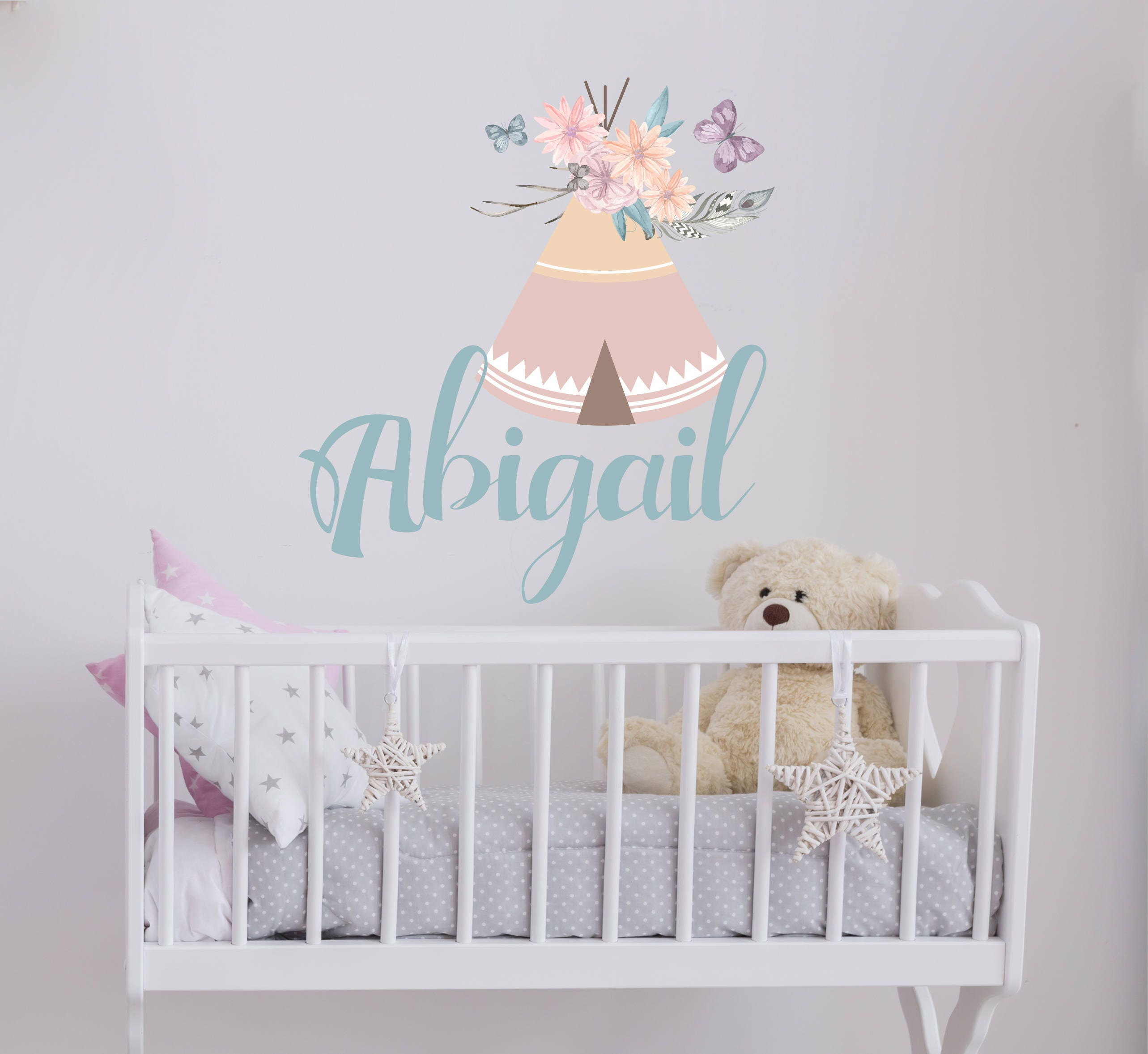 Girls Name Decal Full Color Wall Murals For Nursery Rustic Etsy