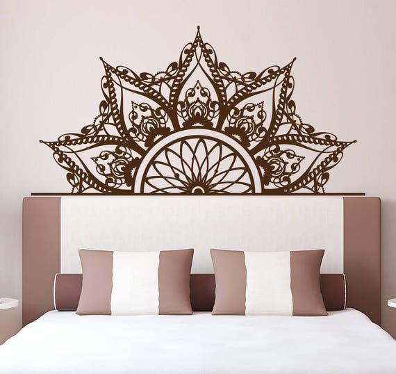 half mandala headboard wall decal headboard decal bedroom | etsy