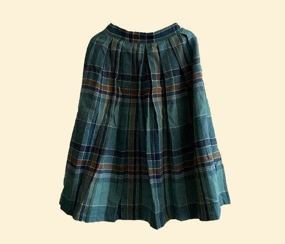 Vintage Cacharel Paris wool pleated plaid green sk