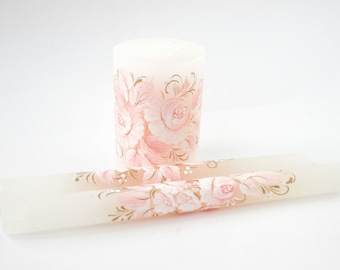 Wedding unity candle set wedding candle in gentle white and pink tones coral wedding tenderness shabby ivory candle romantic gift for her
