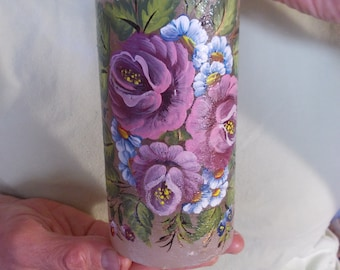 Wedding Unity Candle with pink big flowers of a taupe blush/mauve color