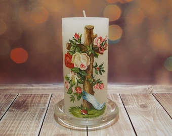 """Christmas Candle cross with roses white Easter candle with cross Easter centerpiece Candle Easter pattern candle 5,9"""" Christmas  decoration"""