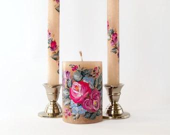 Wedding unity candles  set wedding candle in gentle grey and purple tones coral wedding blush