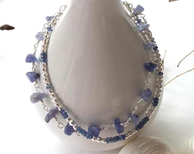 Bracelet in sapphire blue, tanzanite and silver sterling, double row