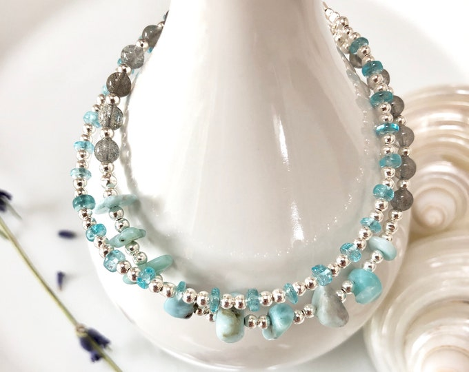 Bracelet with Larimar, Labradorite, Apatite blue and Silver Sterling (925), double row