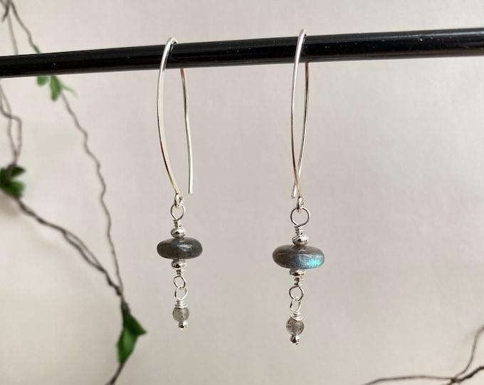 Labradorite dark and silver sterling earrings, hanging earrings