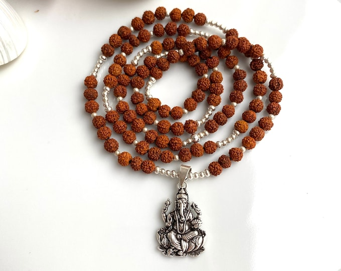 Mala from Rudraksha with pendant Ganesha made of silver sterling, necklace with 108 small pearls