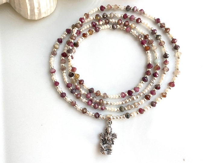 Delicate mala made of tourmaline, freshwater pearls and silver with pendant Green Tara