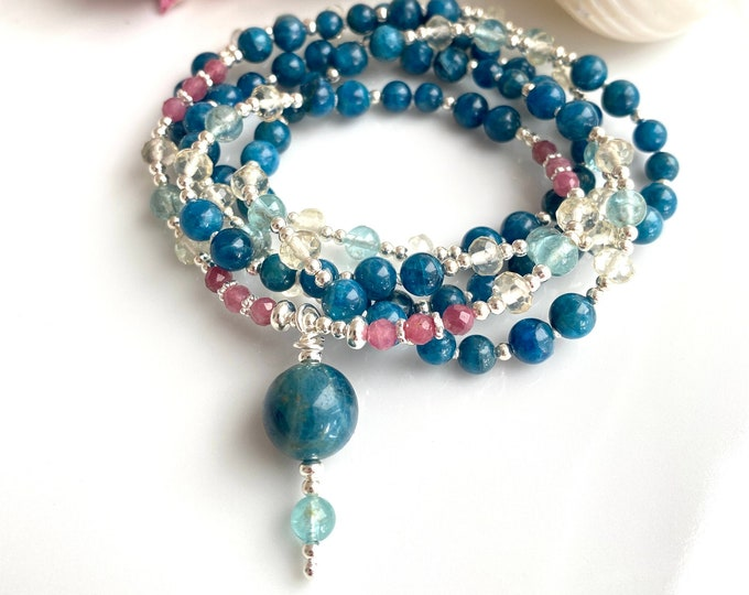 Colorful mala made of apatite blue and lime quartz, decorated with silver and tourmaline pink, final pearl apatite blue