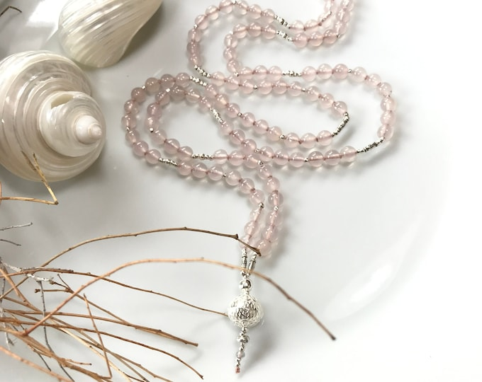 Mala in chalcedony pink and hilltribe silver