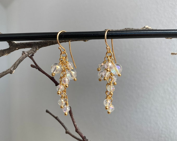 Cluster - hanging earrings in silver plated and shimmering angel aura