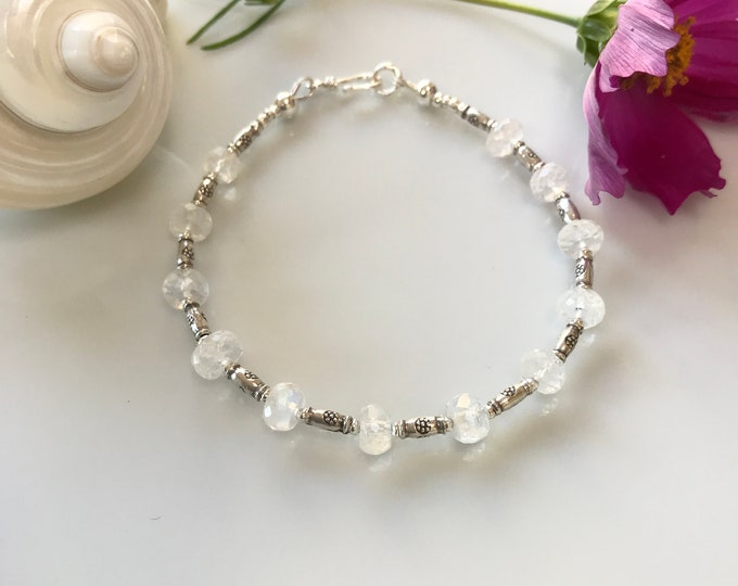 Shimmering white labradorite bracelet with hilltribe silver