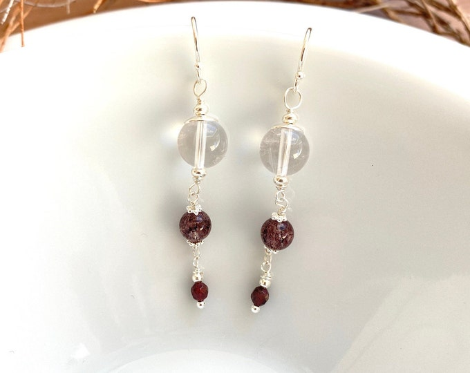 Silver earrings with rock crystal, hematite quartz and garnet