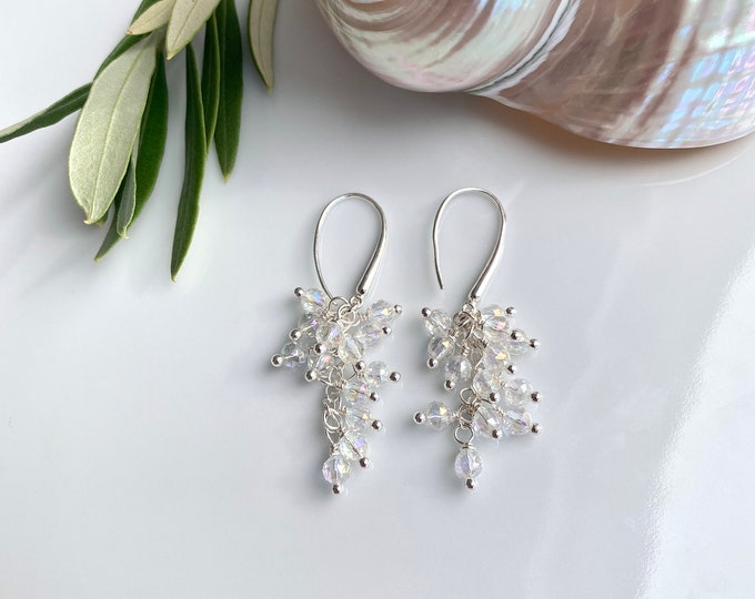 Cluster - Hanging earrings in silver and shimmering angel aura