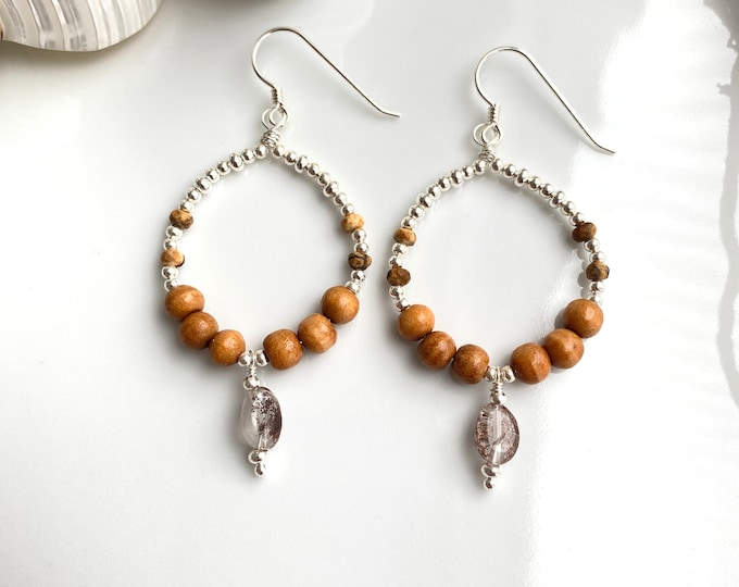 Earrings in silver, mango wood, landscape jasper and inclusive quartz