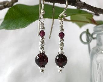 Silver and dark red garnet earrings