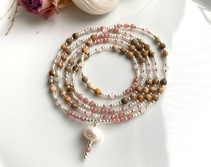 Delicate, long mala made of landscape jasper, rhodochrosite, morganite, decorated with silver and freshwater pearls, final pearl freshwater pearl