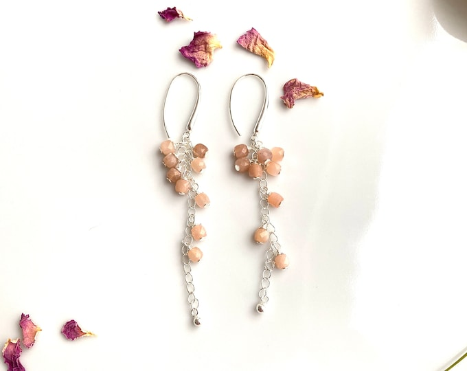 Earrings made of moonstone peach and silver sterling (925), long hanging earrings, grape shape