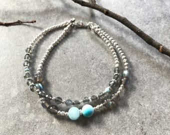 Larimar (AAA) and Labradorite Bracelet (extra, A), decorated with silver