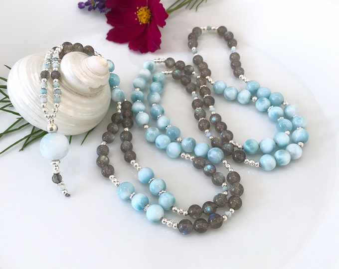 Valuable mala from Larimar (AAA) and Labradorite (extra), decorated with silver (925), final pearl from Larimar