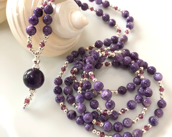 Mala made of rare charoite, decorated with purple garnet and silver, final pearl made of amethyst dark, exclusive rarity