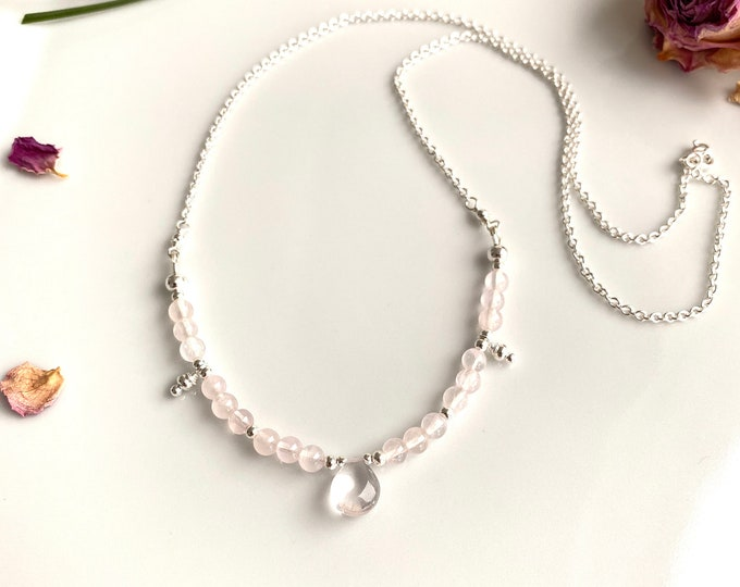 Rose Quartz A and Silver Sterling Necklace (925)