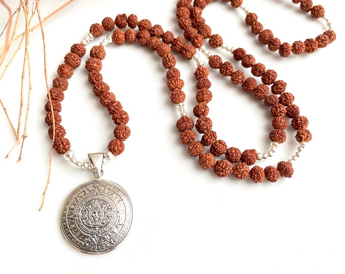 Mala from Rudraksha, 108 small pearls with silver pendant Mayan sun wheel (925, Sterling)