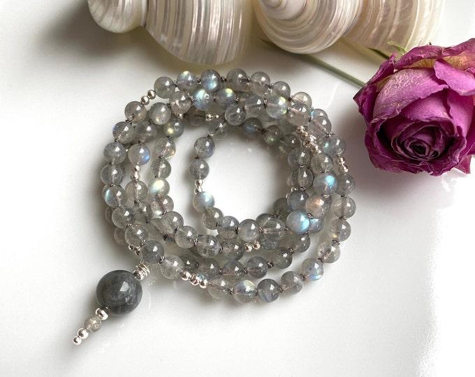 Mala made of labradorite and silver, final pearl of labradorite