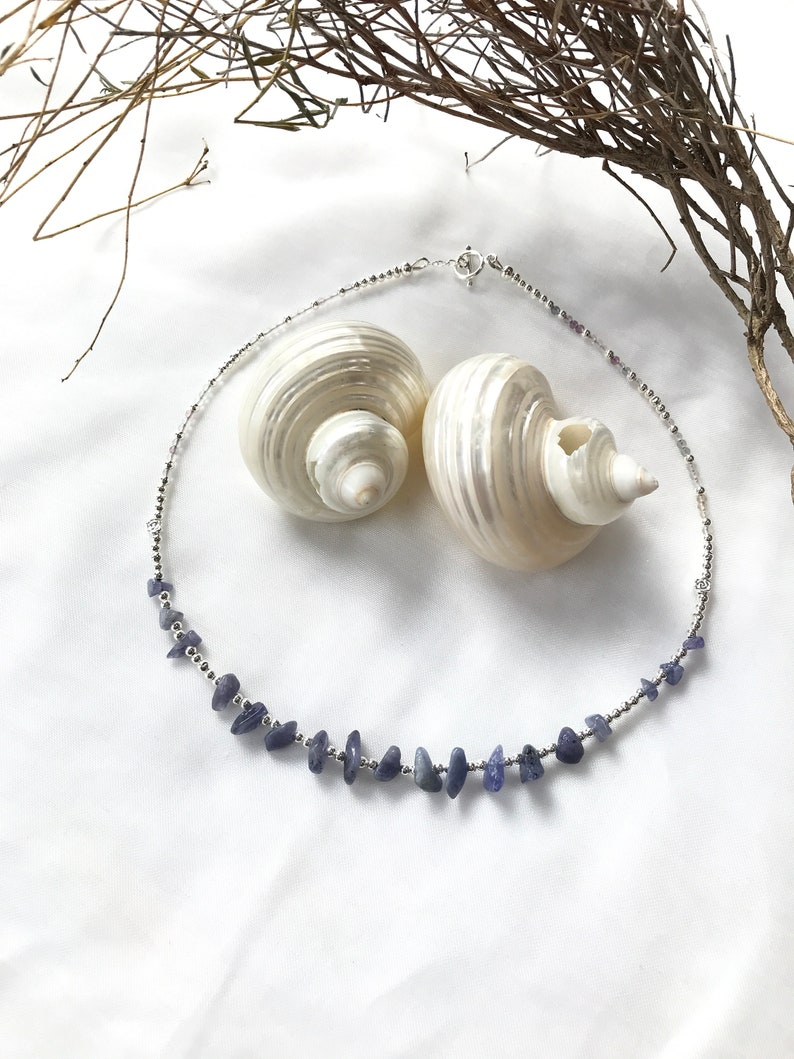 Short necklace tanzanite and fluorite silver necklace