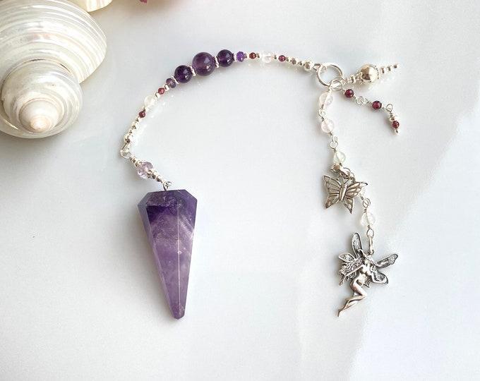 Elves Amethyst Pendulum with Silver, Ametrin, Rose Quartz, Garnet and Prehnite