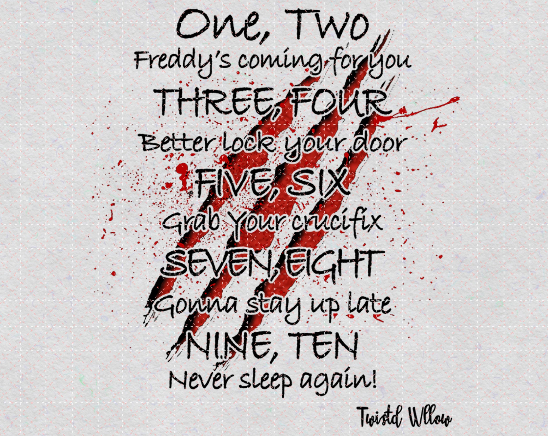 Freddy's Lullaby One Two Freddys Coming For You PNG Printable, Freddy Kruger Png, Happy Halloween, Halloween Gift, Sublimation Printing