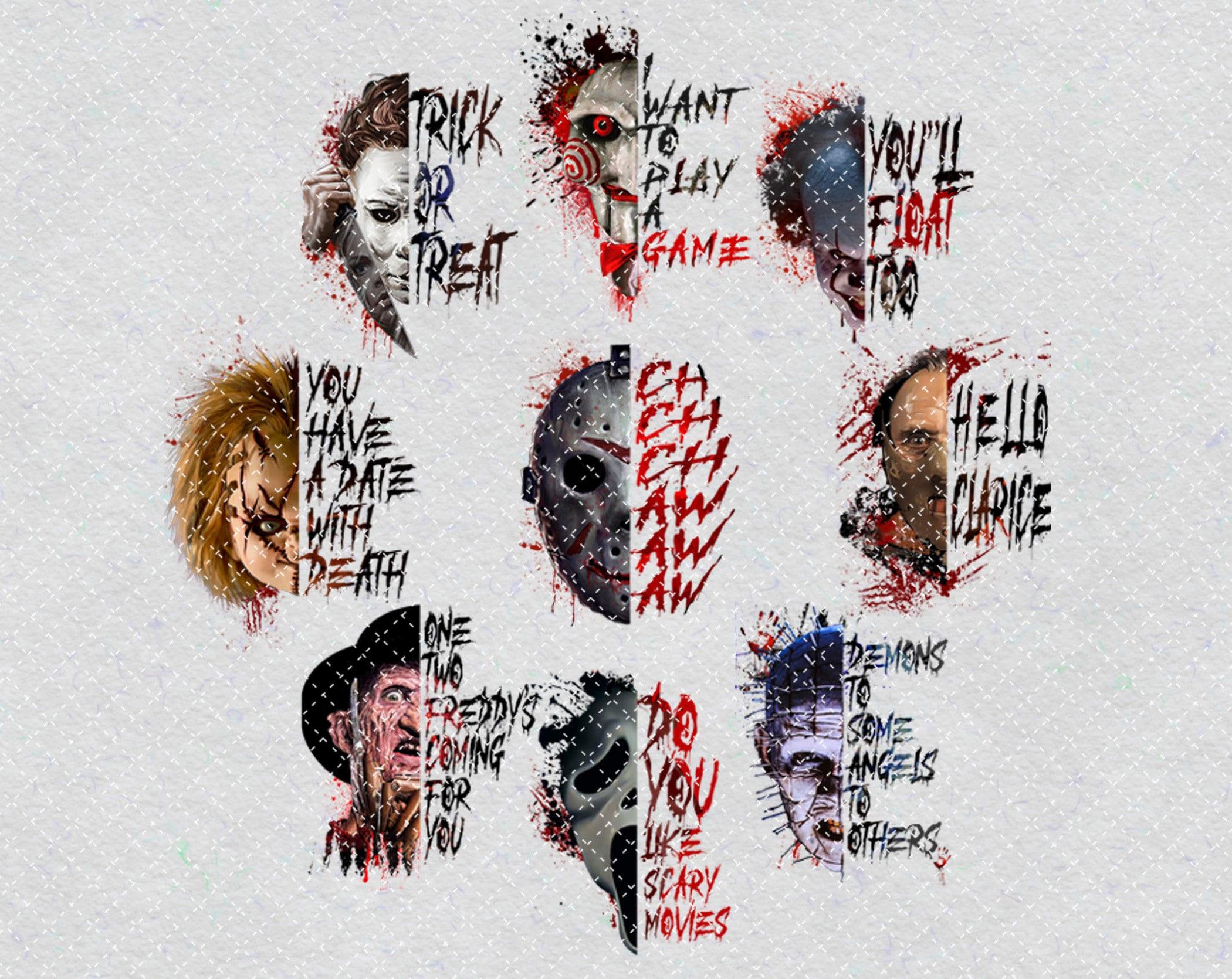 Halloween Characters Bundle PNG Printable, Horror Movies Bundle, Horror Killers,Classic Horror Movies Png,Halloween Png,Sublimation Printing