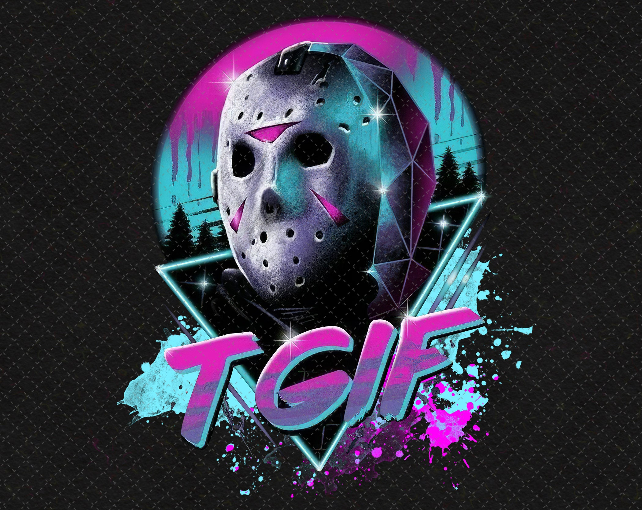 Jason Voorhees Mask Neon PNG Printable, Tgif Jason Voorhees Friday Horror, Png Files For Sublimation Designs Digital Download